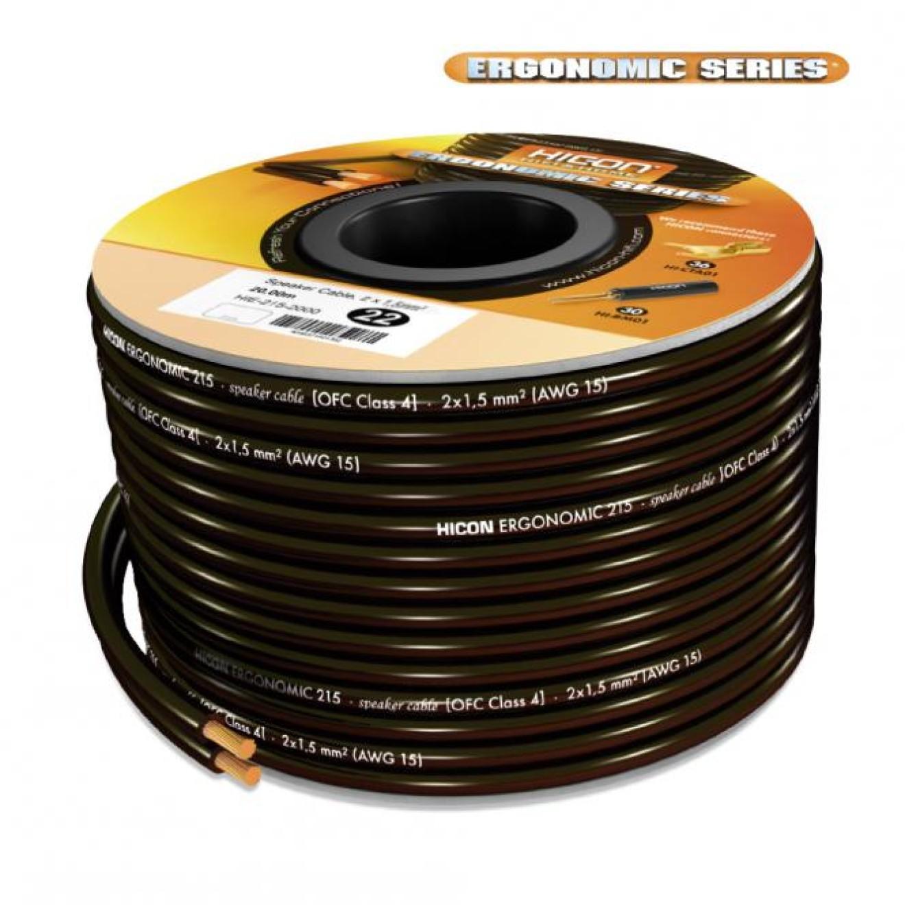 HICON HIE-215-1000 Lautsprecherkabel 2x 1,50mm², Highend-Audiokabel ...